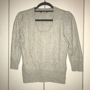 Grey cashmere cable knit front sweater